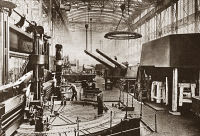 0408322 © Granger - Historical Picture ArchiveWWI: KRUPP GUNWORKS.   Interior of the mammoth Krupp gun works at Essen, Germany, during World War I. Photograph, c1916.