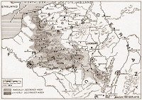 0408367 © Granger - Historical Picture ArchiveWWI: DESTRUCTION OF FRANCE.   Map showing the devastated regions of France during World War I.