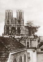 0408380 © Granger - Historical Picture ArchiveWWI: RHEIMS CATHEDRAL.   Destruction of part of the cathedral at Rheims, France, by the German army during World War I. Photograph, c1916.