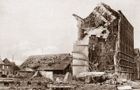 0408383 © Granger - Historical Picture ArchiveWORLD WAR I: COURCELLES.   Mill at Courcelles, Belgium, destroyed with dynamite by German forces during World War I. Photograph, c1916.