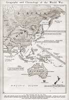 0408488 © Granger - Historical Picture ArchiveWORLD WAR I: GEOGRAPHY.   Map showing the chronology and geography of the effects of World War I in Asia and Australia,