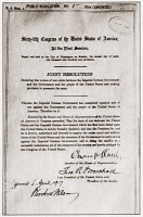 0408938 © Granger - Historical Picture ArchiveWORLD WAR I: DECLARATION.   Joint resolution signed by both houses of Congress and President Woodrow Wilson declaring war on Germany, signed 6 April 1917.