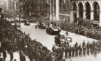 0408950 © Granger - Historical Picture ArchiveWWI: LIBERTY LOAN PARADE.   Tanks at the Liberty Loan parade at 5th Avenue and 35th Street in New York City, c1917.