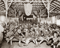 0408959 © Granger - Historical Picture ArchiveWORLD WAR I: LOUNGE, c1917.   American soldiers in a lounging and recration hut on the Western Front during World War I. Photograph, c1918.