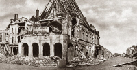0409017 © Granger - Historical Picture ArchiveWORLD WAR I: CITY HALL.  Destroyed city hall of Peronne, France.  Photograph, c1916.