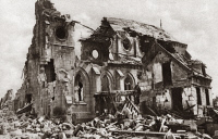 0409023 © Granger - Historical Picture ArchiveWORLD WAR I: CHURCH  Destroyed church in Ribecourt on the river Oise, France. Photograph, c1916.