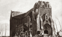 0409025 © Granger - Historical Picture ArchiveWORLD WAR I: NIEUPORT.   Destroyed church at Nieuport, Belgium. Photograph, c1916.