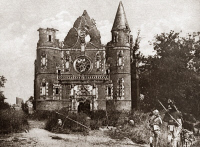 0409026 © Granger - Historical Picture ArchiveWORLD WAR I: TILLOLOY.    French troops passing destroyed church at Tilloloy, France. Photograph, c1916.