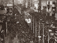 0409129 © Granger - Historical Picture ArchiveWORLD WAR I: PARADE, 1918.   Parade to celebrate the signing of the Armistice on 42nd street and 5th avenune, New York. Photograph, November 11, 1918.