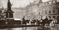 0409189 © Granger - Historical Picture ArchiveWORLD WAR I: REVIEW, c1919. Marshal Foch with Generals Castelnau and Fayolle on horseback reviewing lines of French troops passing through Strasbourg, France. Photograph, c1919.