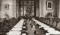 0409375 © Granger - Historical Picture ArchiveWORLD WAR I: TRIANON HOTEL.   Great Hall of the Trianon Palace Hotel, where the competed Treaty of Versailles was delivered to the German Delegates, Versailles, France. Photograph, May 1919.