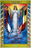 0527899 © Granger - Historical Picture ArchiveWWI: POSTER, 1918.   'Welcome home our gallant boys. Peace, justice, liberty.' Lithograph, 1918.