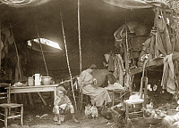 0528006 © Granger - Historical Picture ArchiveWWI: REFUGEES, 1918.   A French family in a refugee encampment in Marne, France. Photograph, 1918.