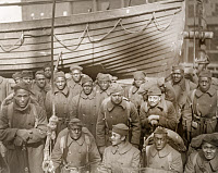 0528293 © Granger - Historical Picture ArchiveWWI: HOMECOMING, 1919.   Troops of the 317th Supply Train returning home on board the Ulna. Photograph, February 1919.
