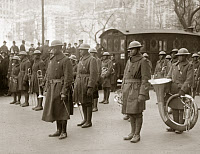 0528298 © Granger - Historical Picture ArchiveWWI: BAND, 1919.   Lieutenant James Reese Europe with the regimental band of the 369th Infantry Regiment, at a homecoming parade in New York City. Photograph, February 1919.