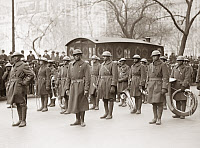 0528299 © Granger - Historical Picture ArchiveWWI: BAND, 1919.   Lieutenant James Reese Europe with the regimental band of the 369th Infantry Regiment, at a homecoming parade in New York City. Photograph, February 1919.