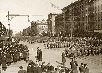 0528308 © Granger - Historical Picture ArchiveWWI: PARADE, 1919.   The 369th Infantry Regiment on parade up Lenox Avenue in New York City. Photograph, 17 February 1919.