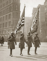 0528309 © Granger - Historical Picture ArchiveWWI: PARADE, 1919.   Color bearers of the 369th Infantry Regiment at the start of the parade up Fifth Avenue in New York City. Photograph, 17 February 1919.