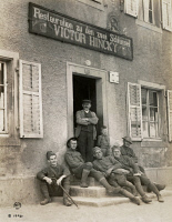 0528931 © Granger - Historical Picture ArchiveWWI: FRANCE, 1918.   Soldiers of the 125th Infantry Regiment in the door of a cafe in Sentheim, France. Photograph 29 May 1918.