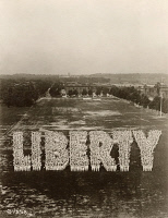 0528963 © Granger - Historical Picture ArchiveWWI: TRAINING STATION.   'Liberty' spelled by sailors in training at the Great Lakes Training Station in Great Lakes, Illinois. Photograph, c1918.