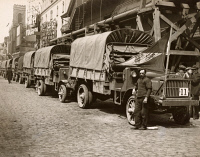 0528972 © Granger - Historical Picture ArchiveWWI: LIBERTY TRUCKS, 1918.   US Army Liberty trucks lined up along Broadway and 42nd Street in New York City, prior to being shipped off to Berlin. Photograph, April 1918.