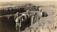 0528974 © Granger - Historical Picture ArchiveWWI: TRENCHES, 1918.   Men of the US Army Signal Corps carrying telephone wires for observation stations through trenches on the battlefield at Soissons, France. Photograph, 12 March 1918.
