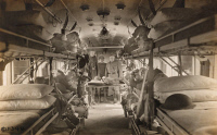 0528978 © Granger - Historical Picture ArchiveWWI: HOSPITAL TRAIN, 1918.   Wounded soldiers resting aboard the the American hospital train #54 in Herreville, France. Photograph, 26 April 1918.