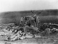 0620206 © Granger - Historical Picture ArchiveWORLD WAR I: ARTILLERY,  c1917. Artillery shell being discharged from a heavy gun. Photograph, 1917 or 1918.