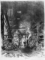 0622251 © Granger - Historical Picture ArchivePENNELL: FURNACES, 1916.   'Within the furnaces.' Munitions production in England, with furnaces melting down pig iron. Etching by Joseph Pennell, 1916.