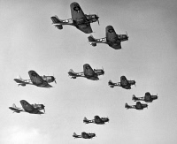 0000907 © Granger - Historical Picture ArchiveWORLD WAR II: U.S. BOMBERS.   A victory formation of U.S. Douglas Dauntless Dive Bombers. U.S. Douglas Dauntless Dive Bombers were used at the battles of Pearl Harbor and Midway and ceased production in 1944.