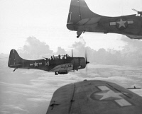 0002663 © Granger - Historical Picture ArchiveWORLD WAR II: U.S. BOMBERS.   U.S. Navy Douglas Dauntless dive bombers en route to a strike at a Japanese base in the Pacific.