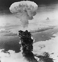 0005183 © Granger - Historical Picture ArchiveWORLD WAR II: NAGASAKI.   The mushroom cloud of the atomic bomb over Nagasaki, Japan, 9 August 1945.