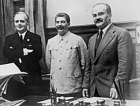 0018131 © Granger - Historical Picture ArchiveNAZI-SOVIET PACT, 1939.   Joachim von Ribbentrop (left), German Minister for Foreign Affairs, Joseph Stalin (center), and Soviet Foreign Minister Vyacheslav Molotov (right), photographed in Moscow after the signing of the Nazi-Soviet non-aggression pact, 23 August 1939.