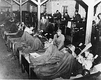 0018397 © Granger - Historical Picture ArchiveWW II: AMERICAN POWs.  In the prison hospital in Stalag XII in Limburg, Germany, 1945.
