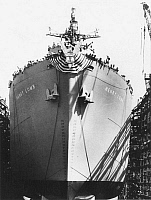 0028975 © Granger - Historical Picture ArchiveWWII: LIBERTY SHIP.   The 202nd Liberty Ship, the 'Henry Lomb,' completed at the Bethlehem-Fairfield Shipyard in Baltimore, Maryland, c1944.