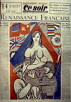 0033539 © Granger - Historical Picture ArchiveFRANCE: 14 JULY 1945.   Front page of the French newspaper 'Ce Soir,' 14 July 1945, commemorating the liberation of Paris the previous year.