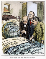 0034203 © Granger - Historical Picture ArchiveCARTOON: BIG THREE, 1945.   'And How Are We Feeling Today?' English cartoon depicting the 'doctors' Churchill, Roosevelt, and Stalin, published shortly after their meeting at Yalta. Cartoon by Sir Bernard Partridge, 1945. RESTRICTED OUTSIDE US.