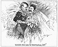 0036906 © Granger - Historical Picture ArchiveCARTOON: NAZI-SOVIET PACT, 1939. 'Wonder How Long the Honeymoon Will Last?' Skeptical cartoon comment on the announcement of the Nazi-Soviet nonaggression pact. Cartoon by Clifford K. Berryman, 1939.
