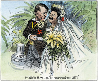 0036907 © Granger - Historical Picture ArchiveCARTOON: NAZI-SOVIET PACT, 1939. 'Wonder How Long the Honeymoon Will Last?' Skeptical cartoon comment on the announcement of the Nazi-Soviet nonaggression pact. Cartoon by Clifford K. Berryman, 1939.