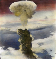 0042258 © Granger - Historical Picture ArchiveNAGASAKI: ATOM BOMB 1945.   The mushroom cloud of the atomic bomb over Nagasaki, Japan, August 9, 1945: oil over a photograph.