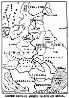 0042879 © Granger - Historical Picture ArchiveWORLD WAR II: INVASION MAP.   Map from a contemporary American newspaper depicting the German invasion of the Soviet Union, 22 June 1941.