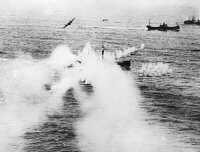 0045686 © Granger - Historical Picture ArchiveWORLD WAR II: R.A.F., 1944.   Beaufighter planes of the Royal Air Force attacking a ship of a German convoy off the Frisian Islands during World War II, 1944.