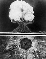 0045837 © Granger - Historical Picture ArchiveFIRST ATOMIC BOMB, 1945.   The first atomic explosion, 16 July 1945, in New Mexico.