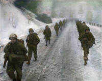 0051817 © Granger - Historical Picture ArchiveWWII: BELGIUM, 1945.   American soldiers marching through the fog in Belgium during the World War II winter of 1944-1945.