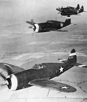 0099767 © Granger - Historical Picture ArchiveWORLD WAR II: THUNDERBOLT.   A squadron of Republic P-47 Thunderbolts, a U.S. Air Force single-seat fighter plane. Photographed 1943.