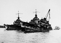 0100010 © Granger - Historical Picture ArchiveWORLD WAR II: FRENCH FLEET.   Remnants of the French naval fleet at Toulon, scuttled by the orders of its Vichy commander during the German occupation of southern France, 27 November 1942.