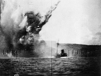 0100641 © Granger - Historical Picture ArchiveWORLD WAR II: SUBMARINE.   Destruction of a Japanese merchant ship in an American submarine attack about a mile from the shore of a Pacific island, 20 August 1943.