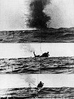 0100642 © Granger - Historical Picture ArchiveWORLD WAR II: SUBMARINE.   The destruction of a Japanese merchant ship in an American submarine attack, 18 November 1943.
