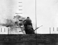 0100645 © Granger - Historical Picture ArchiveWORLD WAR II: SUBMARINE.   A Japanese merchant ship sinking following an American submarine attack during World War II.