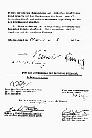 0103217 © Granger - Historical Picture ArchiveGERMAN SURRENDER, 1945.   Second and final page of the German version of the formal instrument of Germany's surrender at the end of World War II, signed at Berlin on 8 May 1945, ratifying the terms agreed to the previous day at Rheims, France.